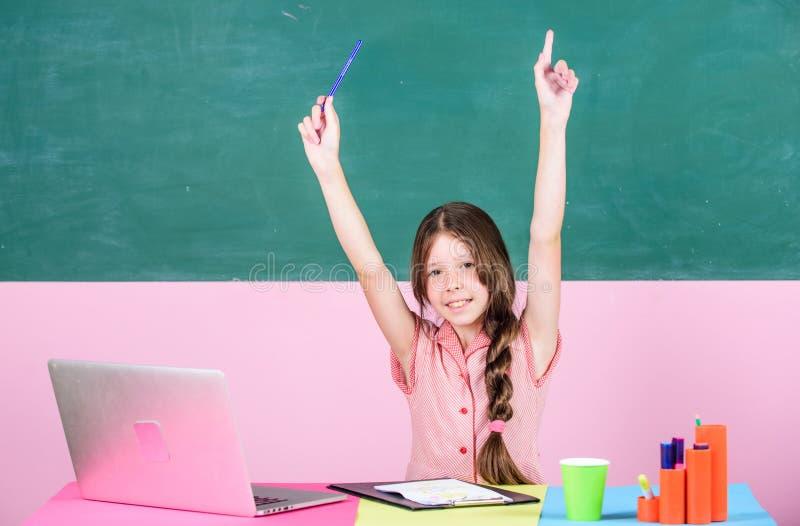 Online school. Pupil study digital technology. Educative content. Schoolgirl surfing internet. Parental advisory concept stock image