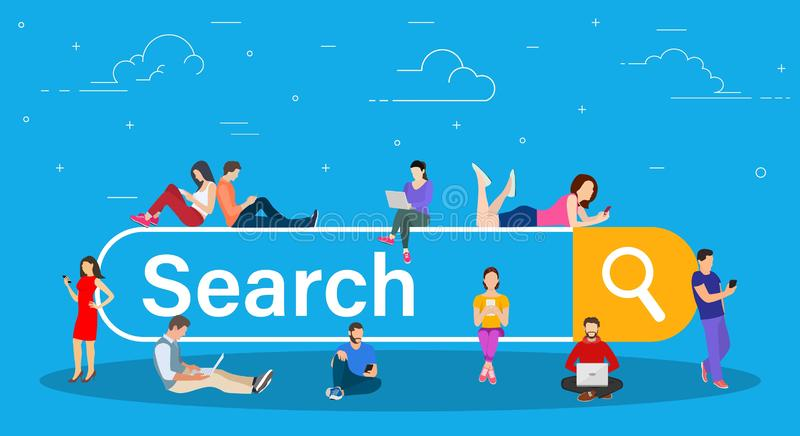 Online search bar concept. People using mobile smarthone and laptop for searching info in web browser. Vector illustration in flat style vector illustration