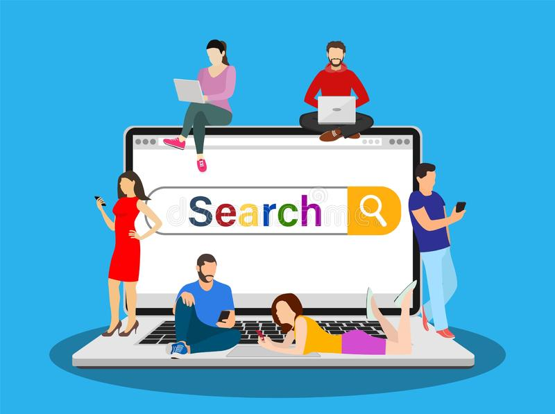 Online search bar concept. People using mobile smarthone and laptop for searching info in web browser. Vector illustration in flat style stock illustration