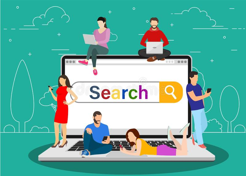 Online search bar concept. People using mobile smarthone and laptop for searching info in web browser. Vector illustration in flat style royalty free illustration