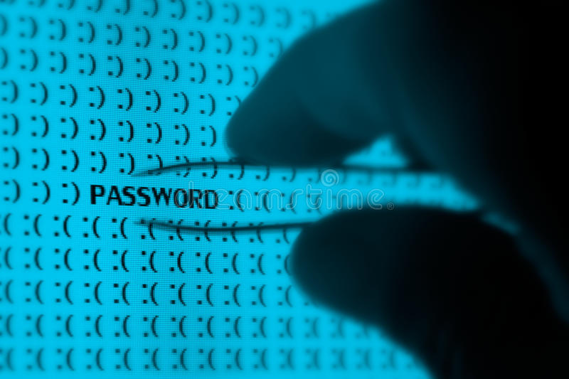 Online Security. Macro computer screen shot with binary code and password tex, great concept for computer, technology and online security stock photos