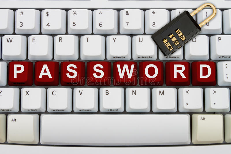 Online Security. Computer keyboard keys with word password and a combination lock, Online Security royalty free stock image
