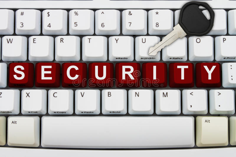Online Security. Computer keyboard keys with word password and a key, Online Security royalty free stock photos