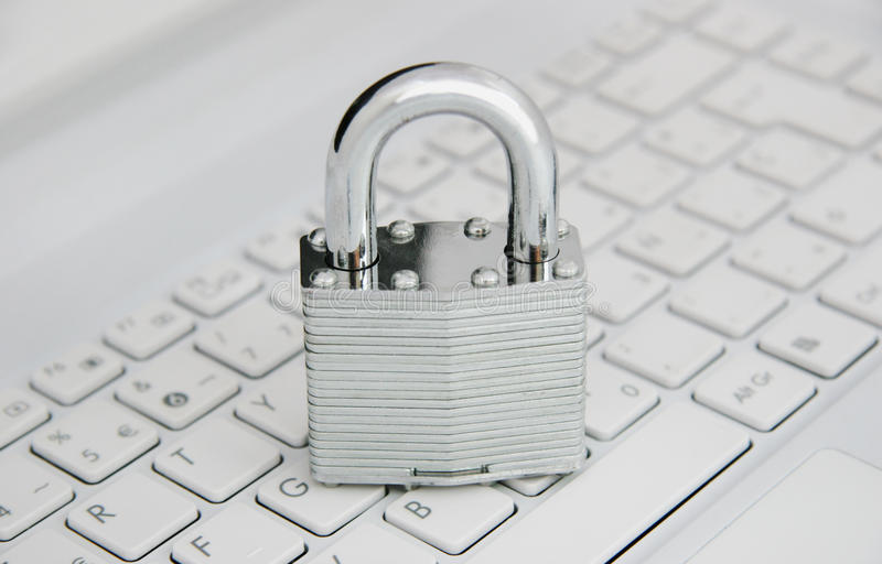 Online Security. Computer keyboard with padlock. Online Security. E commerce security stock photography