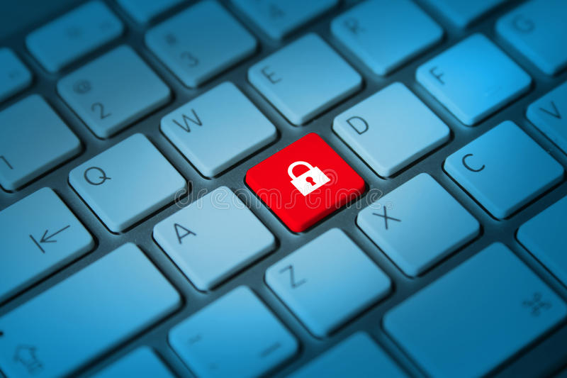 Online security concept. Lock keyboard key royalty free stock photo