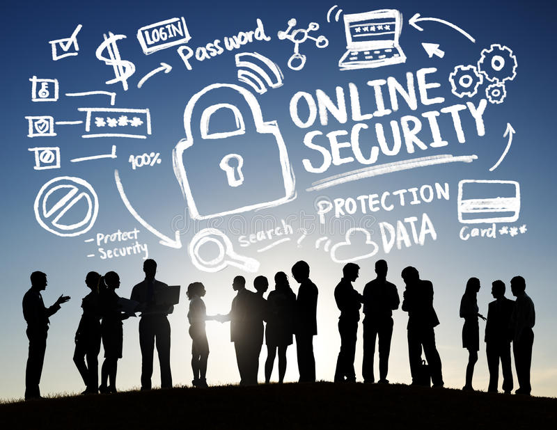 Online Security Protection Internet Safety Business Communication Concept.  stock photos