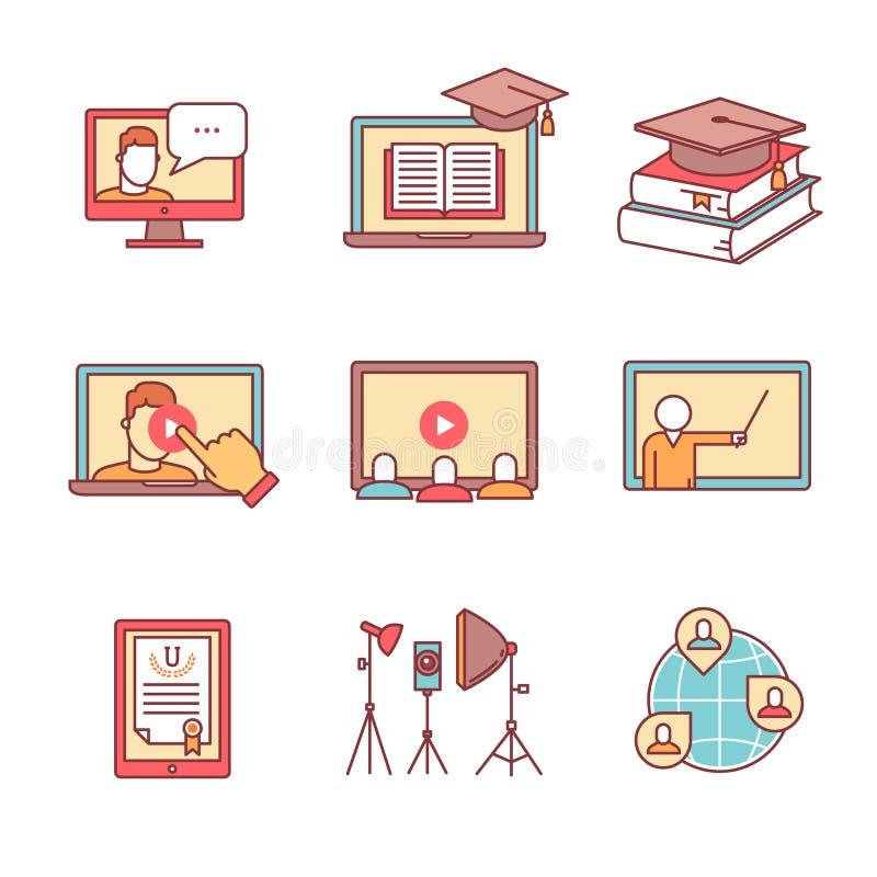 Online-seminariumsymboler gör linjen uppsättning tunnare Webinar vektor illustrationer