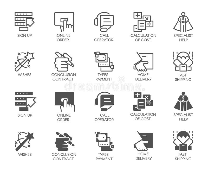 Online service buttons in line and glyph designs. Call operator, home delivery, specialist, cost calculation icons vector illustration