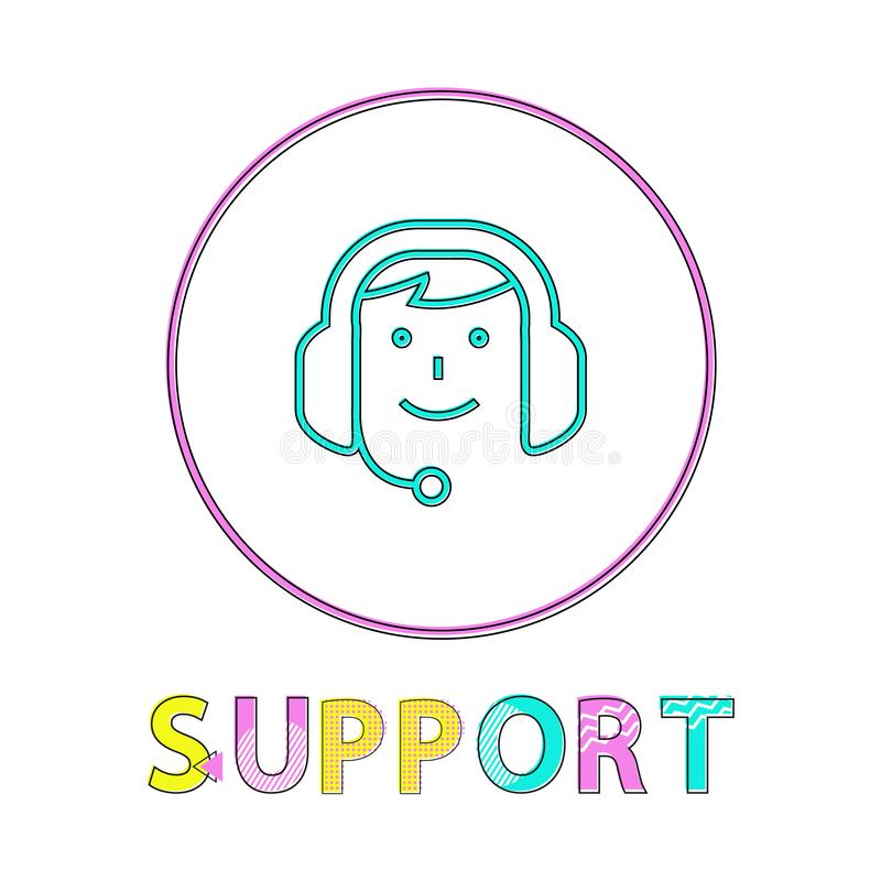 Online-service, linjär symbol för översiktsstilvektor royaltyfri illustrationer