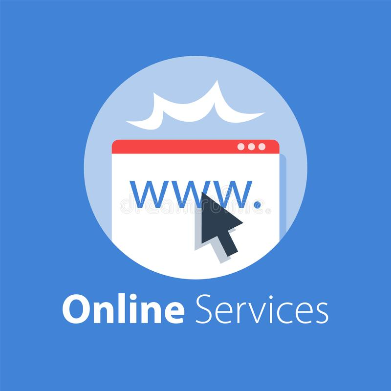 Online services, web page and cursor, provide access. Vector flat illustration stock illustration