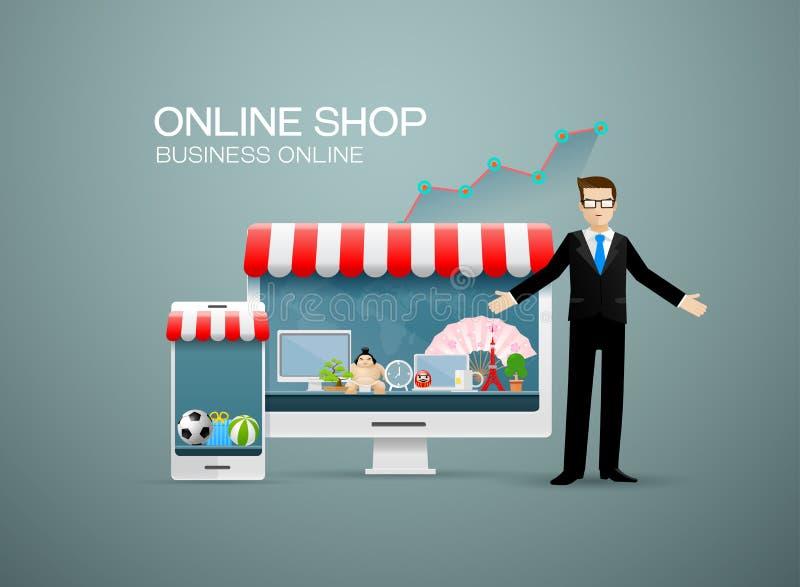 Online shop business online. Online shop ,business online,businessman royalty free illustration