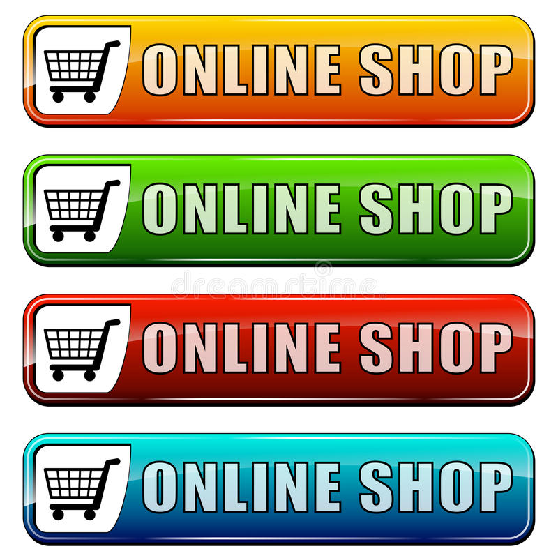Online shop buttons. Vector illustration of online shop buttons on white background vector illustration