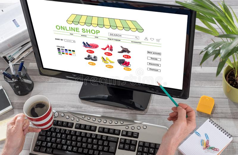 Online shop concept on a computer royalty free stock photography