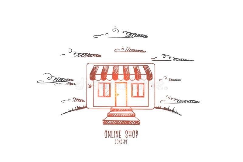 Online shop concept. Hand drawn vector. stock illustration
