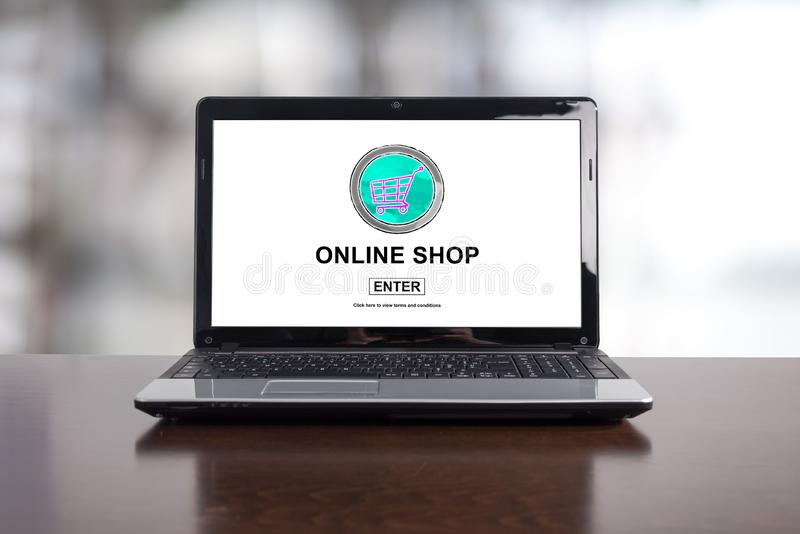 Online shop concept on a laptop royalty free stock photo