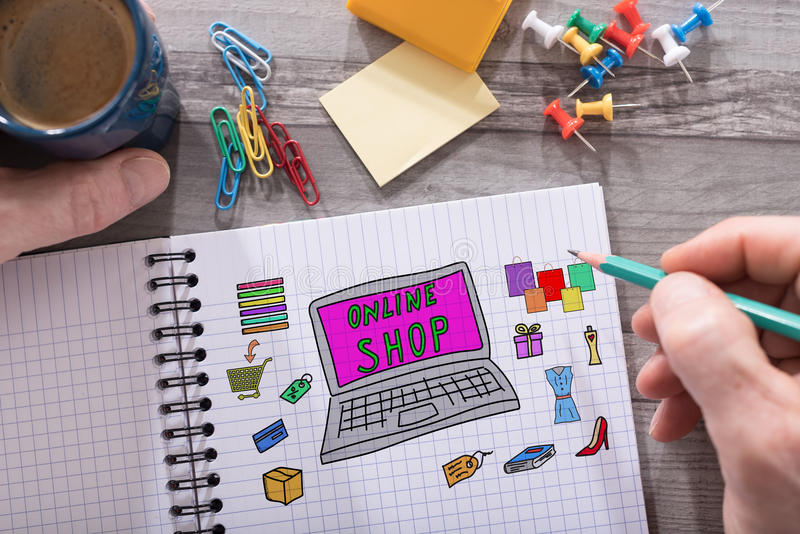 Online shop concept on a notepad royalty free stock photos