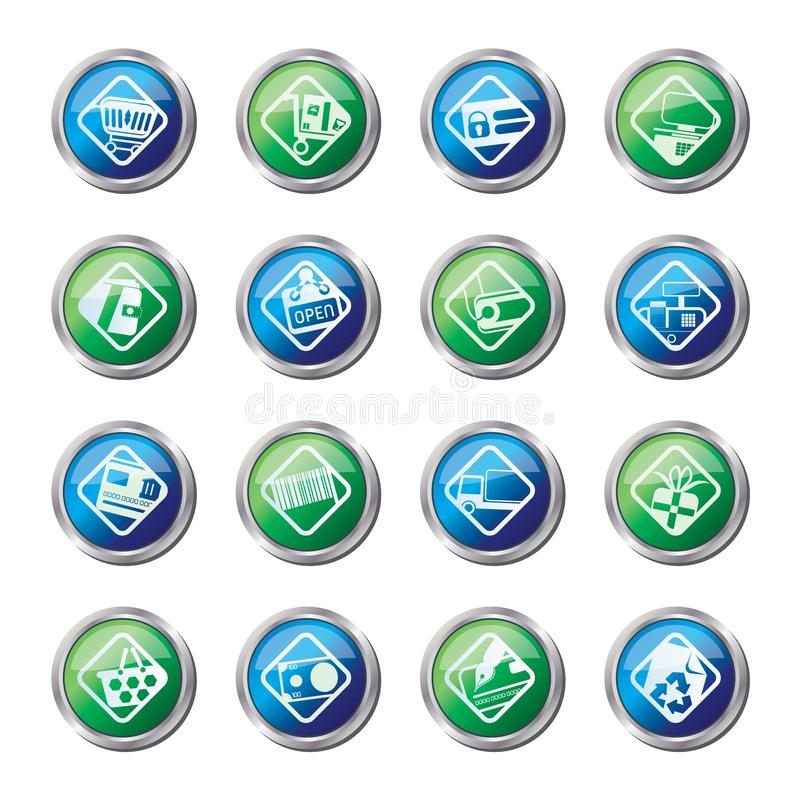 Online Shop, e-commerce and web site icons over colored background. Vector Icon Set vector illustration
