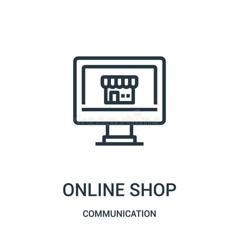Online shop icon vector from communication collection. Thin line online shop outline icon vector illustration. Linear symbol for. Use on web and mobile apps royalty free illustration
