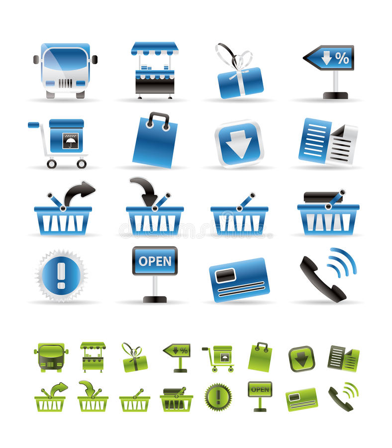 Online shop icons stock illustration
