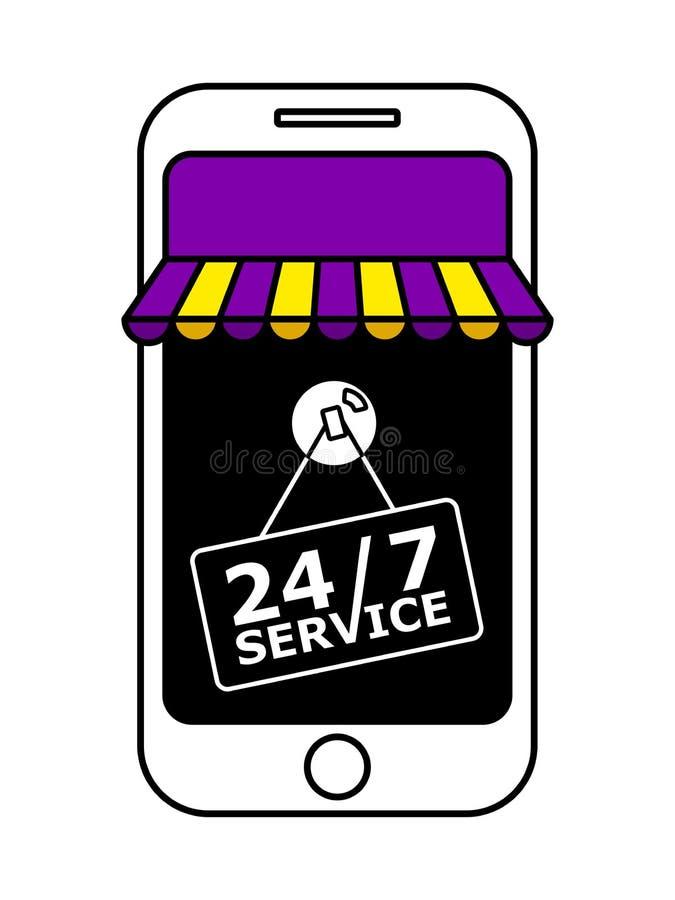 Online-Shop mit purpurroter und gelber Markise stock abbildung