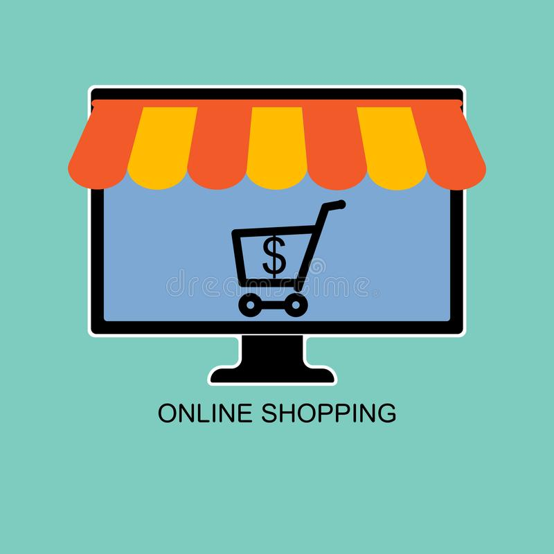 Online shop, selling and buying using computer. vector illustration