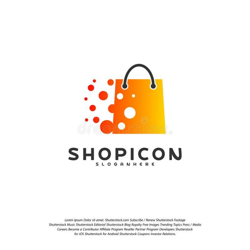 Online Shop Store Market Logo Template Design Vector, Pixel Shop Logo Design Element stock illustration