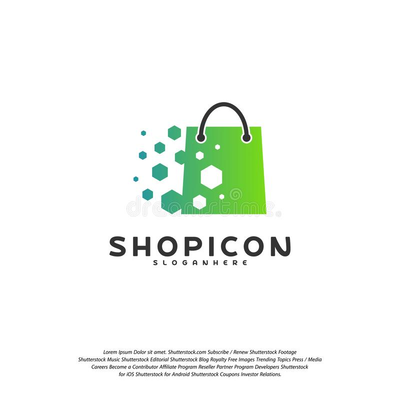 Online Shop Store Market Logo Template Design Vector, Pixel Shop Logo Design Element royalty free illustration