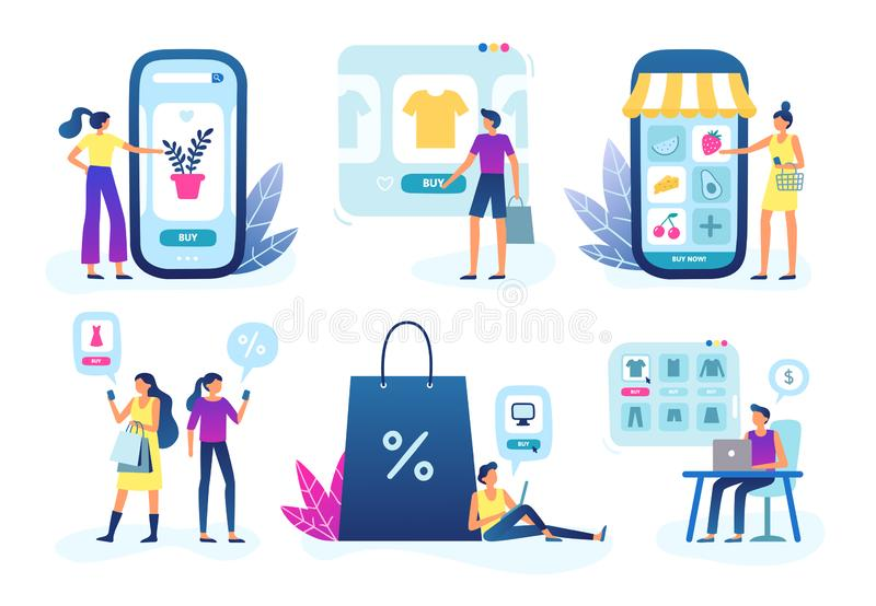 Online shop. Web store business, customer goods delivery service and internet buying and selling vector illustration royalty free illustration