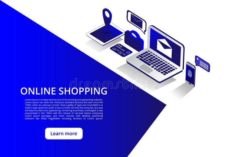 Online Shoping, Mobile payments, Transfer money isometric concept. Online Shoping Concept. Vector illustration.  royalty free illustration
