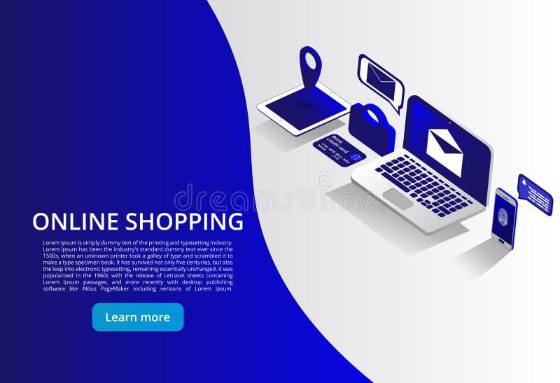 Online Shoping, Mobilne zapłaty, przeniesienie pieniądze isometric pojęcie Online shoping pojęcie również zwrócić corel ilustracj ilustracja wektor