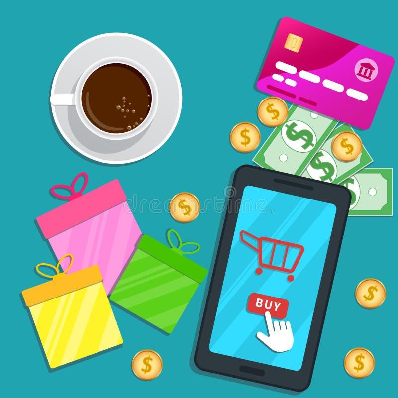 Online-shoppa app Plan smartphone med vagnssymbolen och markörpekare som klickar köpknappen på skärmen Tabell med kreditkorten, g royaltyfri illustrationer
