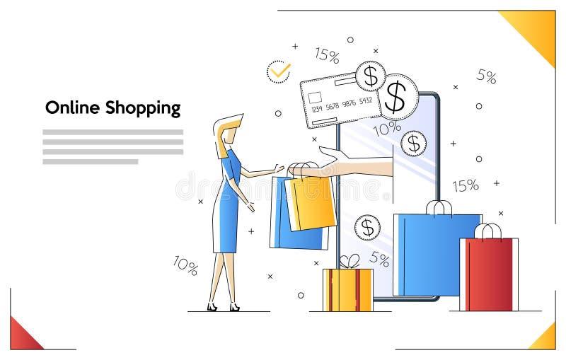 Online-shoppa baner, mobila appmallar, plan design f?r begreppsvektorillustration Kvinnligt väljer upp köp vektor illustrationer