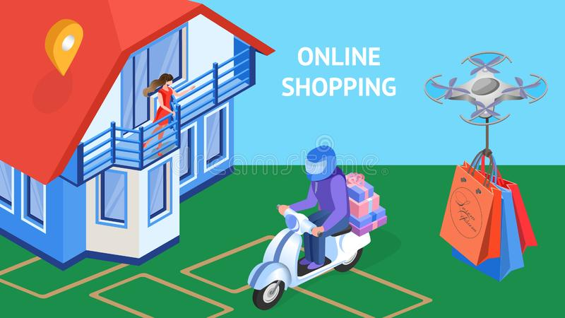 Online-shoppa banermall för uttrycklig leverans vektor illustrationer