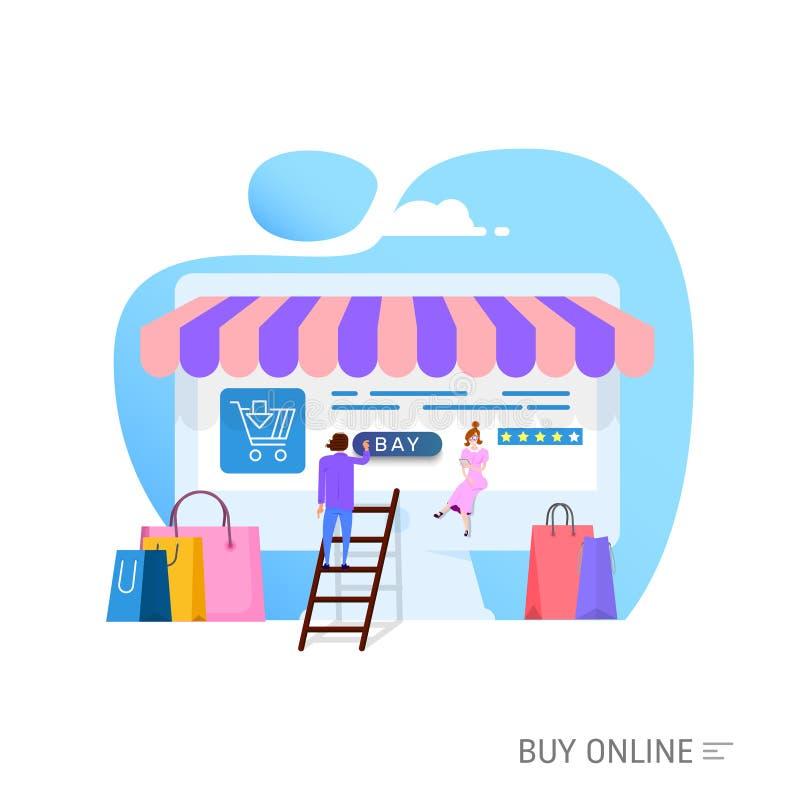Online-shoppa begrepp, illustrationmetafor, mycket litet tecknad filmfolk och bärbar dator som skyltfönster vektor illustrationer