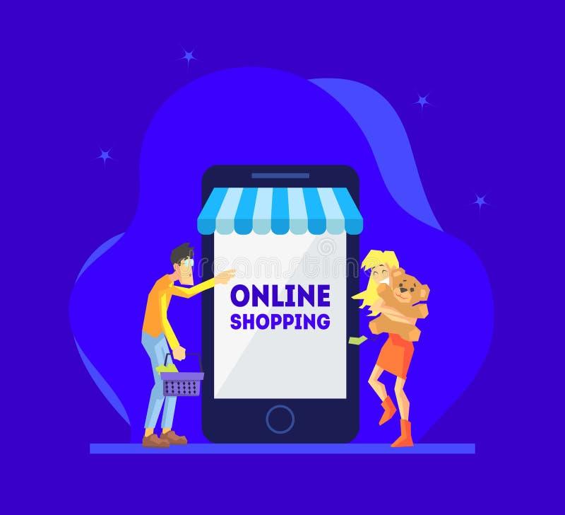 Online-shoppa begrepp, man och lyckligt flickaanseende nära jätten Smartphone med deras köp, folk som använder Smartphone stock illustrationer