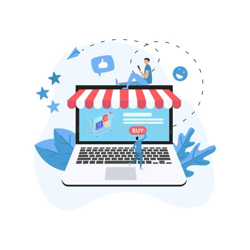 Online-shoppa begrepp med bärbara datorn, shoppingkorgen och litet folk, köpande online-lager royaltyfri illustrationer