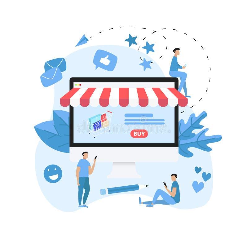 Online-shoppa begrepp med den skrivbords- shoppa korgen och litet folk, köpande online-lager vektor illustrationer