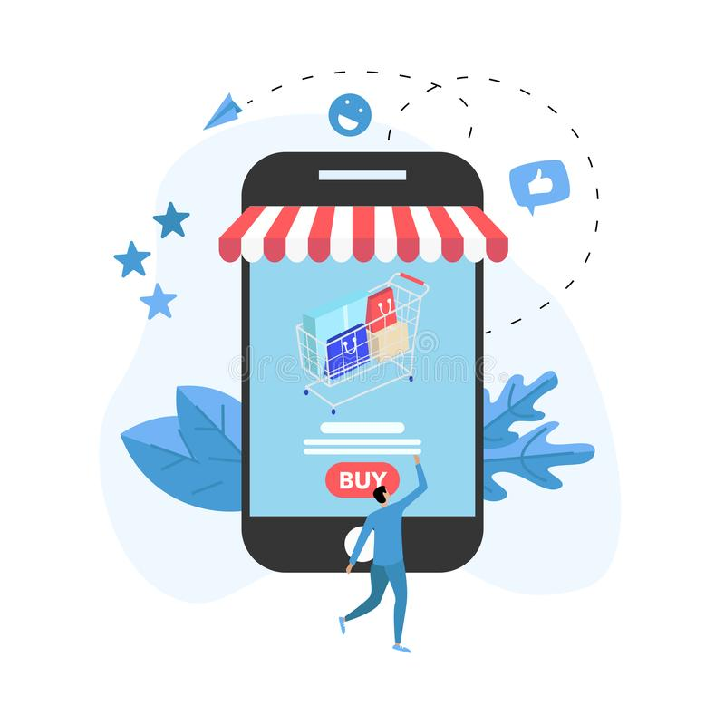 Online-shoppa begrepp med smartphonen, shoppingkorgen och mannen, köpande online-lager stock illustrationer