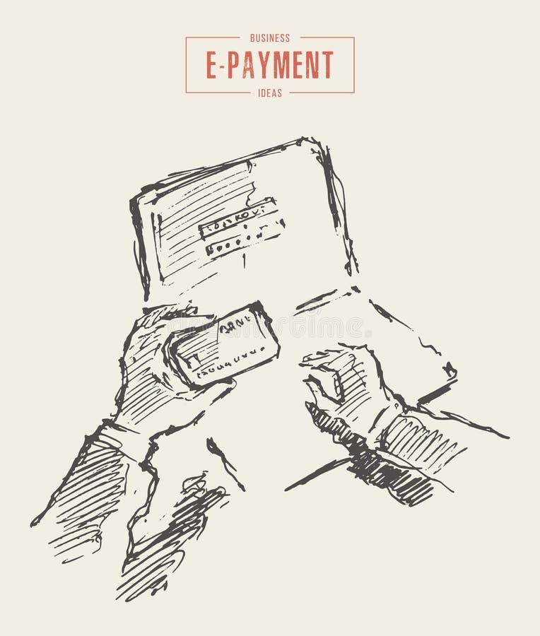 Online-shoppa e-betalning för kontokortlönman vektor royaltyfri illustrationer