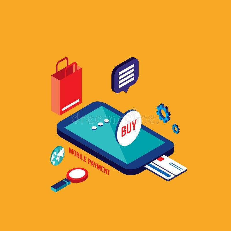 Online-shoppa e-kommers för plan isometrisk betalning för design 3d mobil begrepp royaltyfri illustrationer
