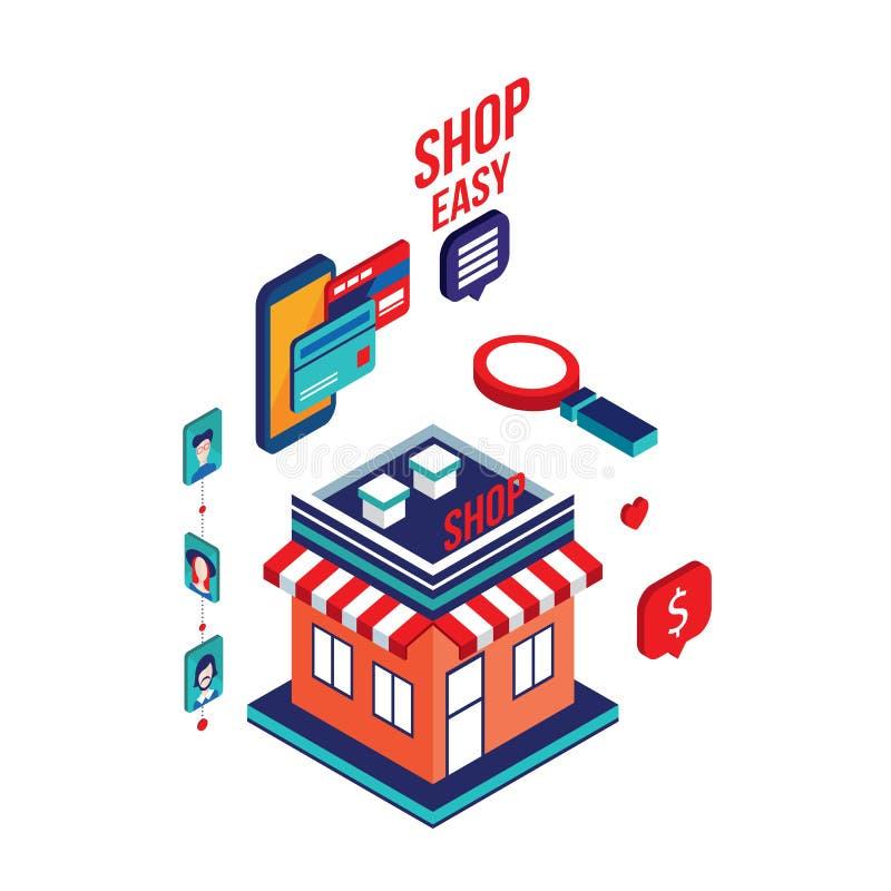 Online-shoppa e-kommers för plan isometrisk betalning för design 3d mobil begrepp stock illustrationer