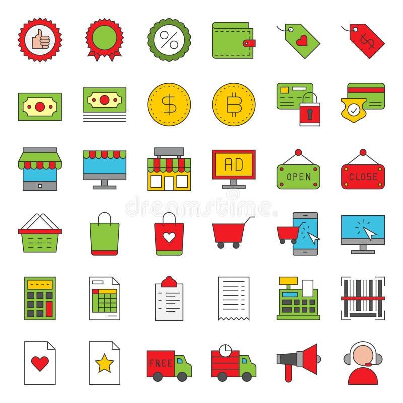 Online-shoppa fylld stilsymbolsuppsättning, redigerbar översikt stock illustrationer