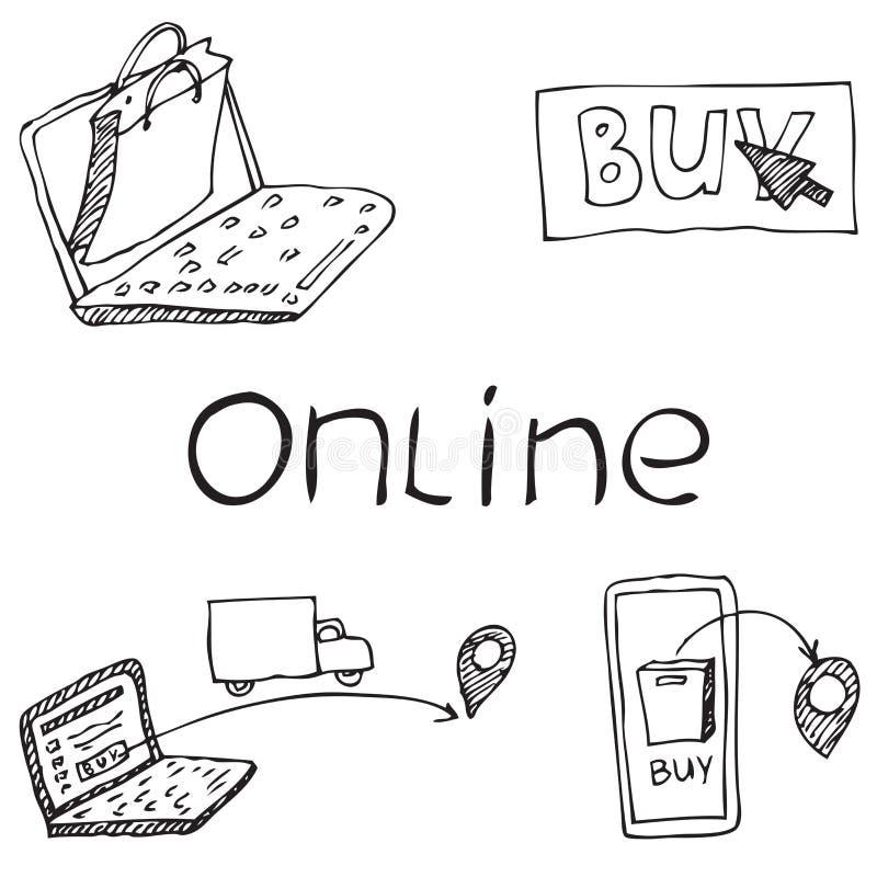 Online-shoppa illustrationbegrepp Leverans av godor stock illustrationer