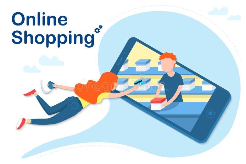 Online-shoppa isolerad kvinna med kreditkorten i handvektorillustration i den plana stilen på vit bakgrund stock illustrationer
