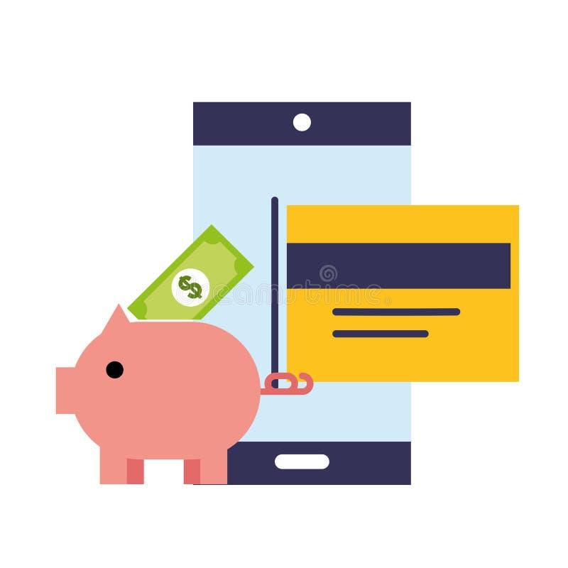 Online-shoppa kontokort för smartphonespargrispengar stock illustrationer