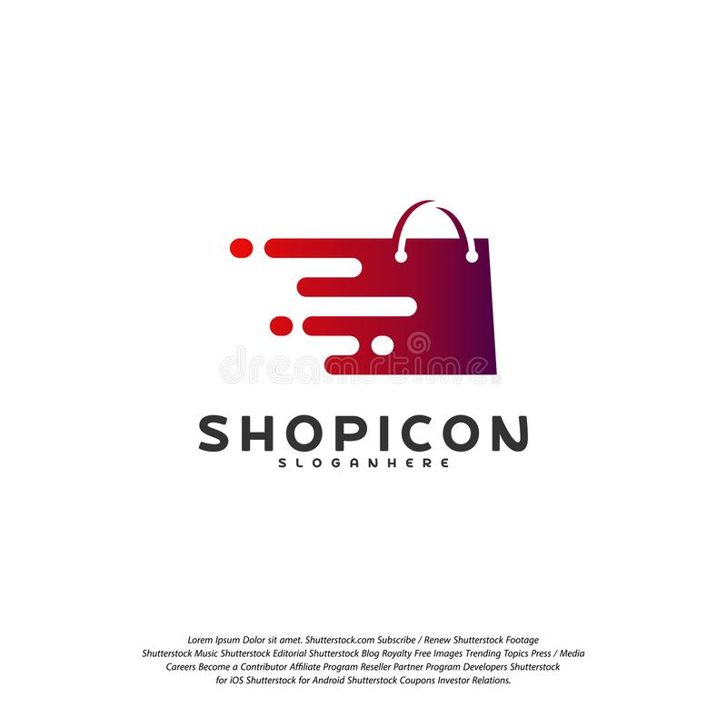 Online- shoppa lagermarknaden Logo Template Design Vector, PIXEL shoppar Logo Design Element royaltyfri illustrationer