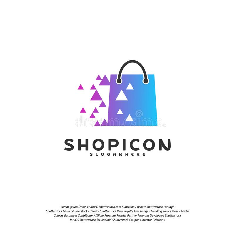 Online- shoppa lagermarknaden Logo Template Design Vector, PIXEL shoppar Logo Design Element royaltyfri illustrationer