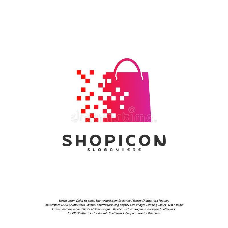 Online- shoppa lagermarknaden Logo Template Design Vector, PIXEL shoppar Logo Design Element stock illustrationer