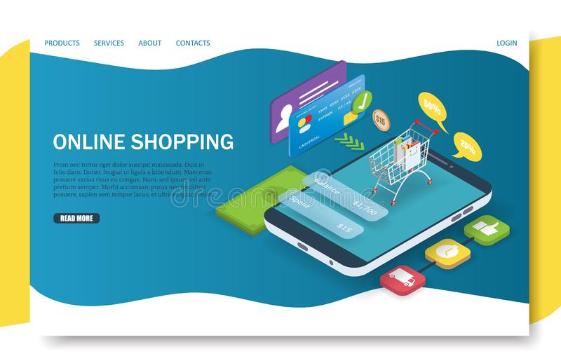 Online-shoppa landa mall för sidawebsitevektor vektor illustrationer