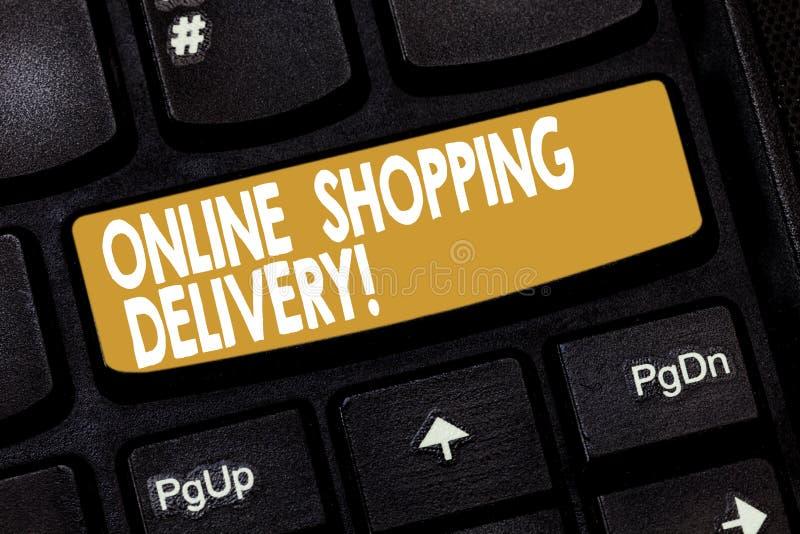 Online-shoppa leverans för ordhandstiltext Affärsidé för process av att sända ett objekt från online-köp arkivbilder